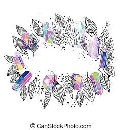 Frame Blumen und Kristalle Vektor