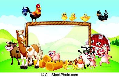 Frame Design mit Bauerntieren.