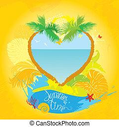 Frame in grunge Stil für Reisen und Urlaub Design - zwei Palmen in Herzform.