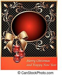 Frame mit Dekorationsball an Weihnachten und Bogen