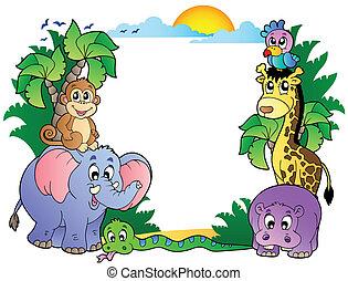 Frame mit süßen afrikanischen Tieren.