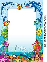 Frame mit verschiedenen Meerestieren