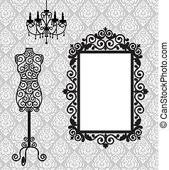 Frame, Schaufensterpuppe und Kronleuchter