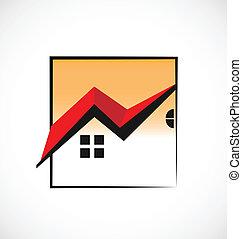 Framed Häuser Immobilienlogo.