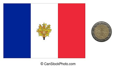 Frankreich, Flagge und Münze.