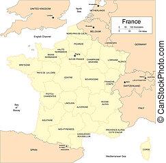 frankreich, länder, umgeben, provinzen