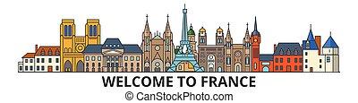 Frankreich skizziert Skyline, Französisch flache dünne Linie Icons, Wahrzeichen, Illustrationen. Frankreich Cityscape, Französisch Reisestadt-Vektorbanner. Urban Silhouette