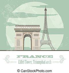 Frankreichs Wahrzeichen. Retro-Stil