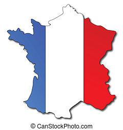Französische Flagge auf einer Karte von Frankreich.