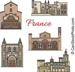 Französische Reiseziele, dünne Linie Vektor