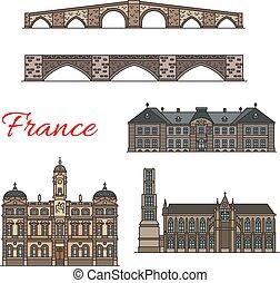 Französische Reiseziele dünne Linien Icons