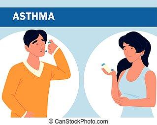frau, asthmatisch, mann
