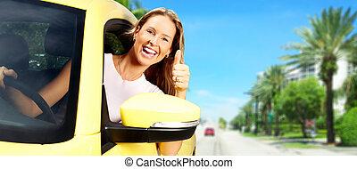 Frau Autofahrerin.
