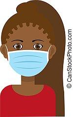 frau, blaues gesicht, maske, tragen, chirurgisch