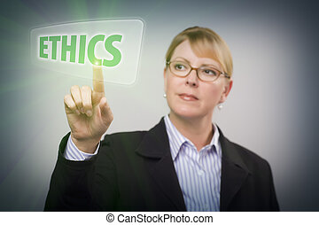 frau, button, schiebt, berühren, ethik, schirm, interaktiv
