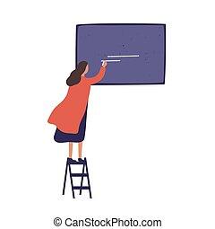 frau, darstellung, stehende frau, tafel, schreiben, wohnung, tafelkreide, gebrauch, treppe, kreativ, vektor, brett, karikatur, whiting, ankündigung, projekt, bereit, freigestellt, bunte, m�dchen, white., illustration.