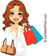 frau- einkaufen, geschaeftswelt