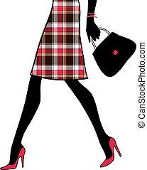 frau- einkaufen, handbag., business., abbildung, vektor, sexy, beine
