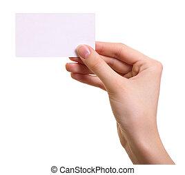 frau, freigestellt, hand, papier, hintergrund, weißes, karte