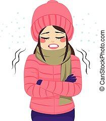 Frau friert Winterkleidung ein.