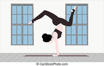 frau, gefuehle, junger, gesicht, stehende haltung, leerer , leer, arm, asana, joga, skorpion, gesichtslos, matte, zimmer, gleichgewicht, vrischikasana, bhuja
