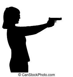 frau, gewehr, silhouette