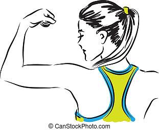 frau, illustra, fitness