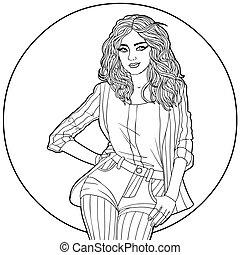 Frau im Kreis. Schwarze und weiße Illustration