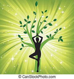 Frau im Yoga-Baum Asana