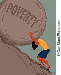 Frau in Armut.