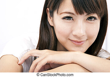 frau, junger, lächeln, asiatisch, schöne