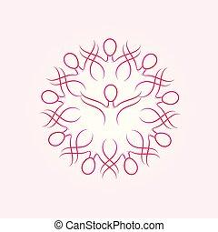 frau, krebs, vektor, geschenkband, mannschaft, logo, bewusstsein, brust