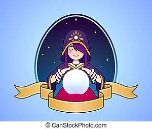 frau, kugel, karikatur, kassierer, kristall, symbol, illustration., reizend, vermögen