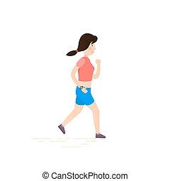 Frau läuft, joggen.
