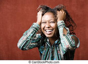 frau, lachender, african-american
