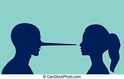 frau, langer, schauen, vektor, nose., liegen, mann
