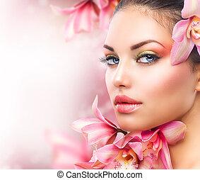 frau mädchen, schoenheit, gesicht, flowers., orchidee, schöne