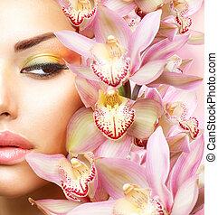 frau mädchen, schoenheit, modell, gesicht, flowers., orchidee, schöne