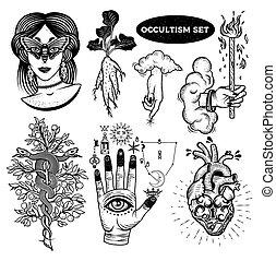 frau, mandrake, lock., hand, baum, alchemical, okkultismus, herz, augenpaar, hand, satz, wolkenhimmel, wurzel, moth, symbole, gott, schlangen