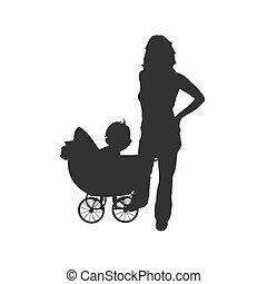 Frau mit Babyvektor.