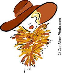 Frau mit Hut.