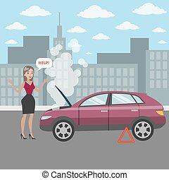 Frau mit kaputtem Auto.