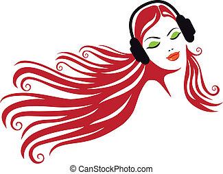 Frau mit Kopfhörer, Vektor