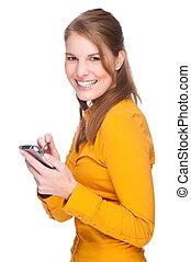 Frau mit PDA