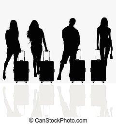 Frau mit Reisegepäck Illustration.