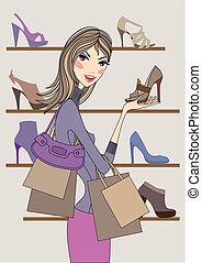 Frau mit Schuhen, Vektor