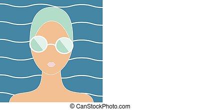 Frau mit Schwimmmütze