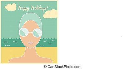 Frau mit Schwimmmütze, Urlaubskarte
