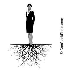 Frau mit Wurzeln. Vector Illustration.