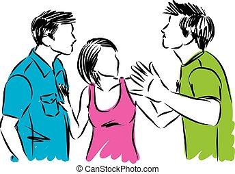 Frau mit zwei Männern, die gegen die Vektorgrafik kämpfen.